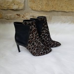 Vince Camuto Chantel leopard and black booties